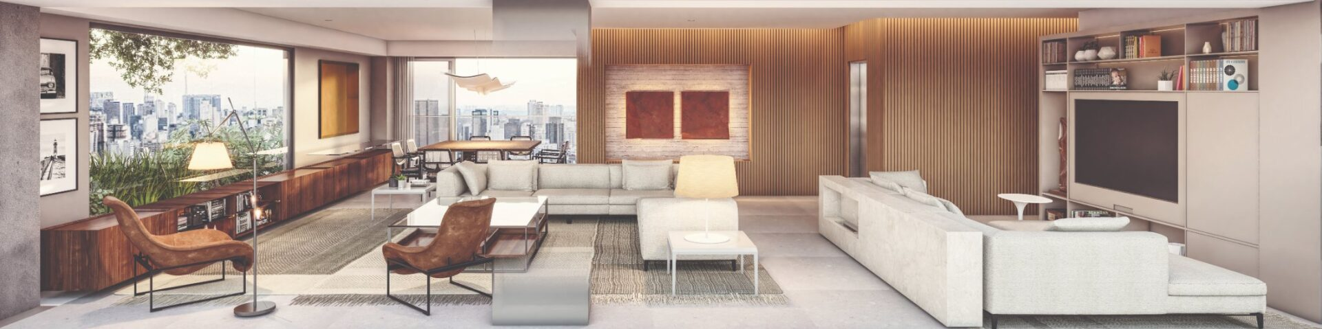 Representação Artística do Terraço e Living Integrados - Planta Opção 2